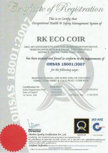 RK Coir OHSAS180012007